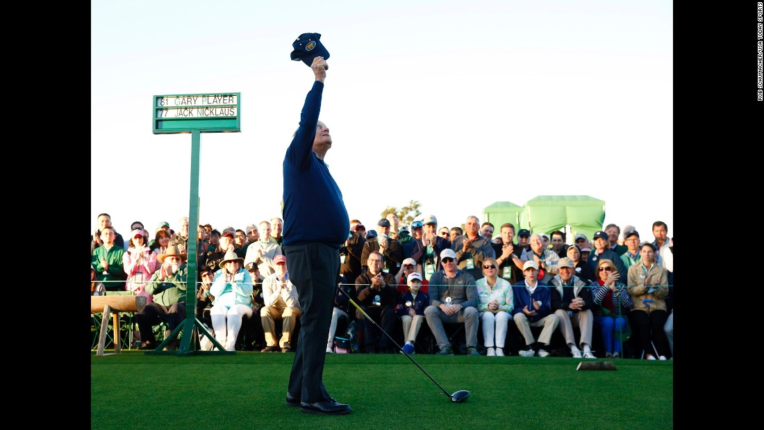 "Jack Nicklaus raises his cap to the sky, honoring Arnold Palmer before hitting a ceremonial tee shot at the Masters on Thursday, April 6. Palmer, a four-time Masters winner, <a href=""http://www.cnn.com/2016/09/25/us/arnold-palmer-death/index.html"" target=""_blank"">died in September</a> at the age of 87."