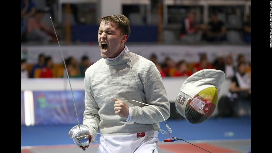 German fencer Lorenz Kempf celebrates a win Tuesday, April 4, at the Junior and Cadet World Fencing Championships.