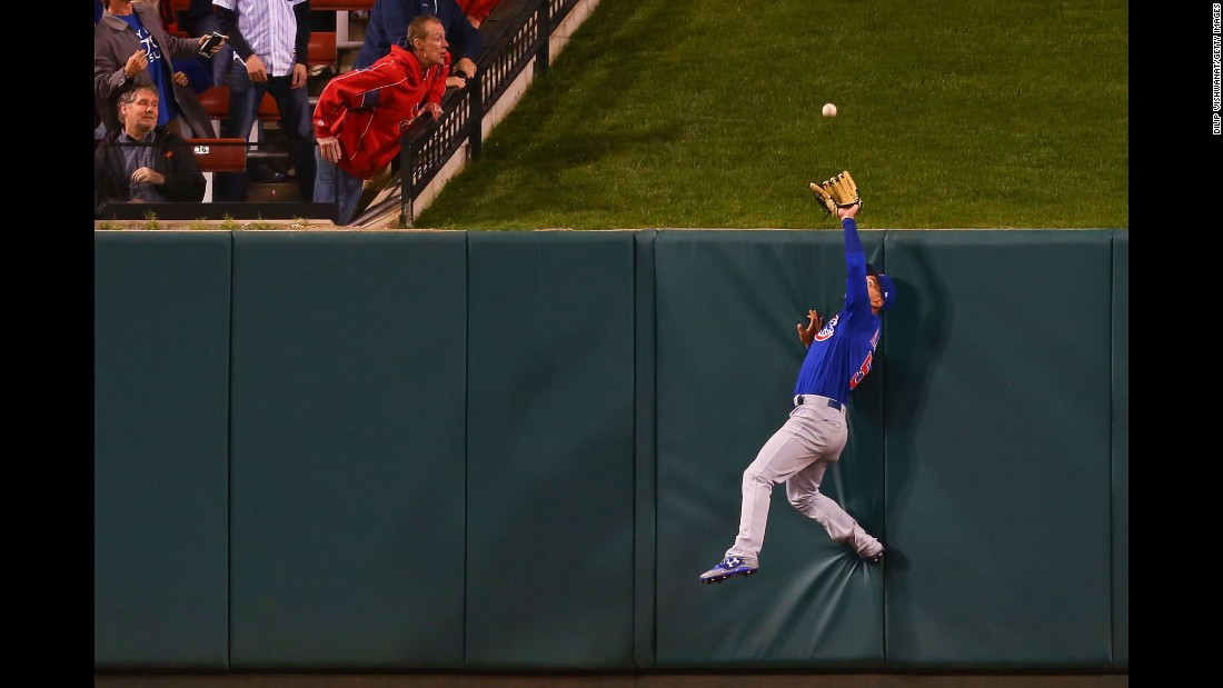 Chicago Cubs outfielder Albert Almora Jr. prevents a home run during a Major League Baseball game in St. Louis on Tuesday, April 4.