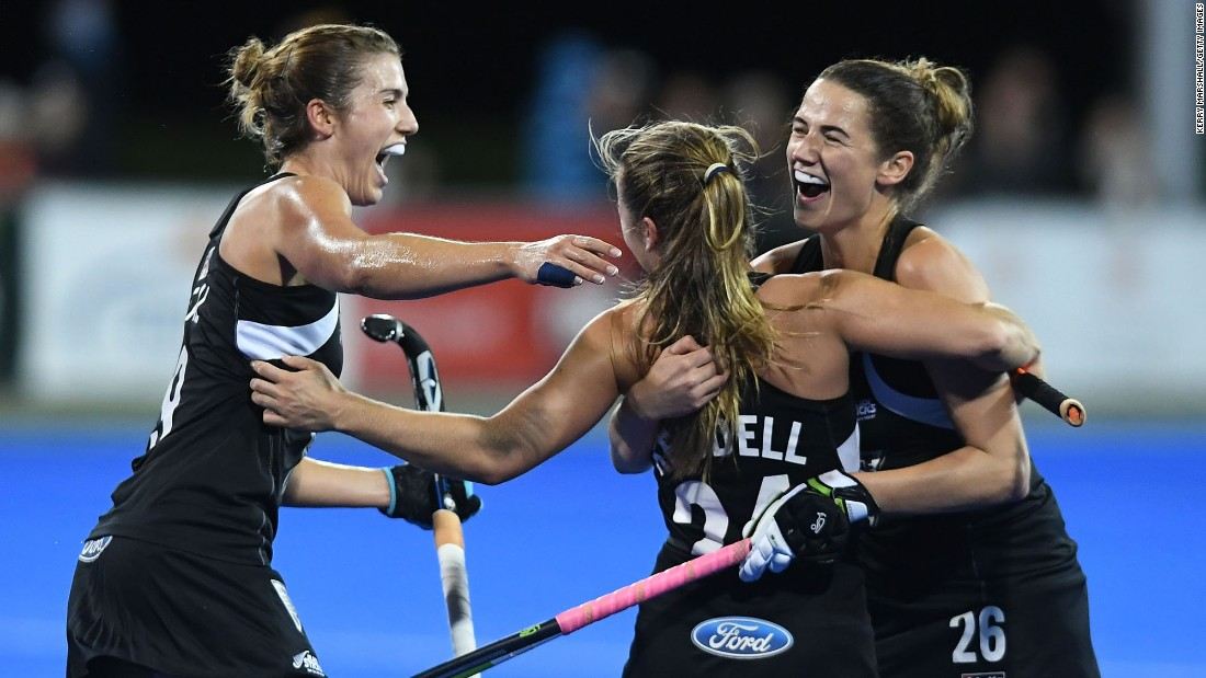 New Zealand field hockey players -- from left, Brooke Neal, Elizabeth Keddell and Pippa Hayward -- celebrate a goal against Japan during the Festival of Hockey on Sunday, April 9.