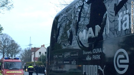 Windows on Borussia Dortmund's bus were shattered by the blasts.