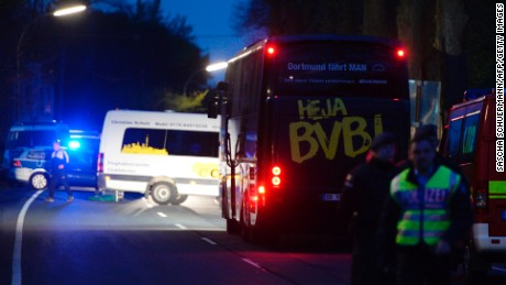 The bus of Borussia Dortmund was damaged by explosion some 10km away from the stadium prior to the UEFA Champions League 1st leg quarter-final football match BVB Borussia Dortmund v Monaco in Dortmund, western Germany on April 11, 2017.
