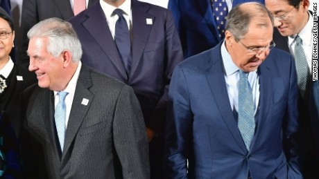 U.S. Secretary of State Rex Tillerson and the Russian Foreign Minister Sergei Lavrov stand in the first row together during the family photo of the G20 foreign ministers' meeting on February 16, 2017 in Bonn, Germany. The meeting is the first occasion that high-level diplomats from the world's most influential countries are coming together since the inauguration of new U.S. President Donald Trump.