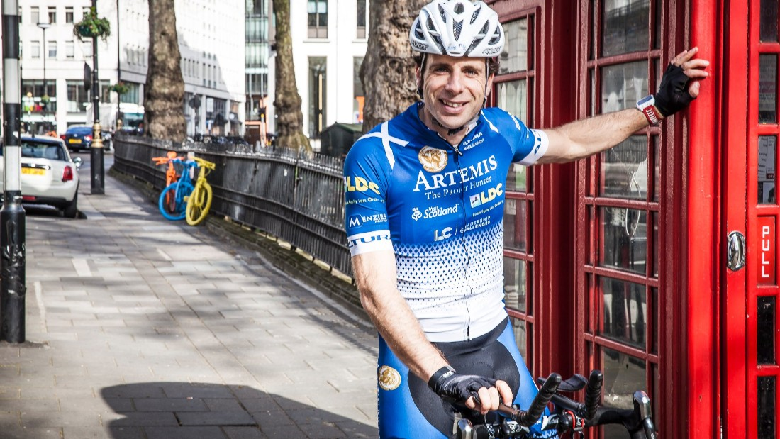 Beaumont poses by a traditional London phone box in 2008, before his previous voyage around the globe. The Scot prepared for his upcoming Herculean task with a leisurely, 3,500 mile ride around Britain's coastline, setting off on April 4, 2017.