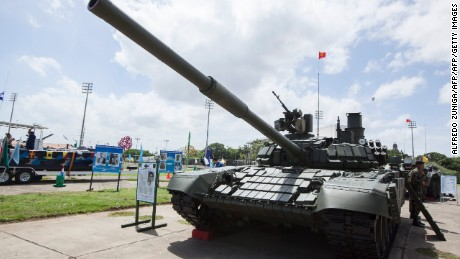 A Russian-made T-72B1 main battle tank (MBT) purchased by Nicaragua is displayed in Managua, on August 16, 2016.  The tank is part of a batch of 50 MBTs acquired by Nicaragua from Russia in replacement of its aged Russian T-54 and T-55 light tanks. / AFP / Alfredo Zuniga        (Photo credit should read ALFREDO ZUNIGA/AFP/Getty Images)