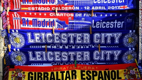 MADRID, SPAIN - APRIL 12: Detailed view of flags ahead of the UEFA Champions League Quarterf inal first leg match between Club Atletico de Madrid and Leicester City at Vicente Calderon Stadium on April 12, 2017 in Madrid, Spain.  (Photo by David Ramos/Getty Images)