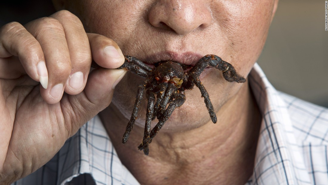 "In Cambodia, <a href=""http://www.cnn.com/2017/01/31/foodanddrink/cooking-and-eating-tarantula-spiders-cambodia/"">fried tarantula</a> was a subsistence dish when people were starving under the brutal Khmer Rouge government of the 1970s. They're now a popular treat that tastes like crab and is often served with garlic."