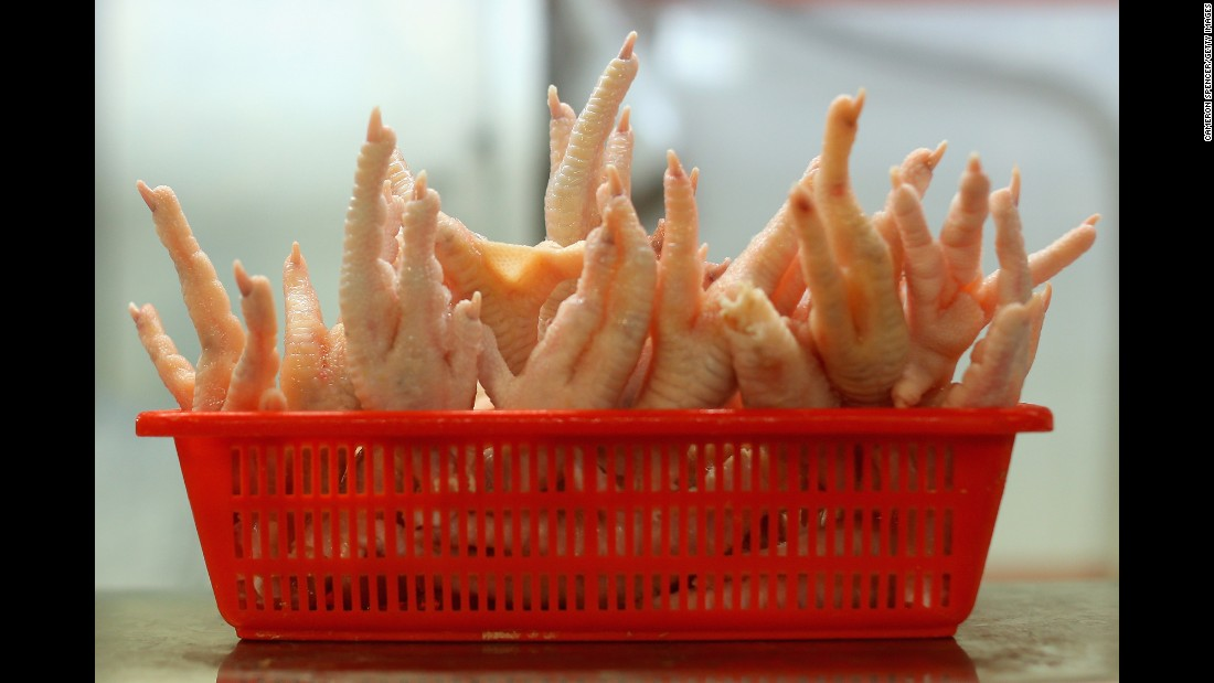 Chicken feet are popular throughout Asia and the Caribbean. They're often served with onion and barbecue sauce.