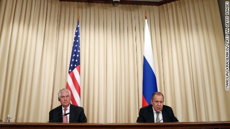 US Secretary of State Rex Tillerson (left) and Russian Foreign Minister Sergei Lavrovat a joint press conference following talks with Russian President Vladimir Putin on April 12.