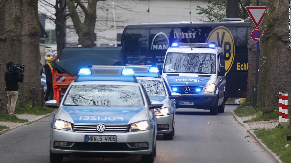 There was heavy police presence in the city and Dortmund's team coach was escorted by police as it arrived for the rescheduled match.