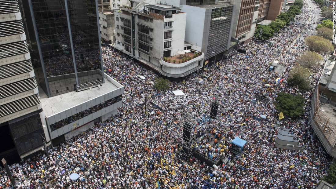 Thousands of demonstrators protest against Maduro in Caracas on Saturday, April 8.