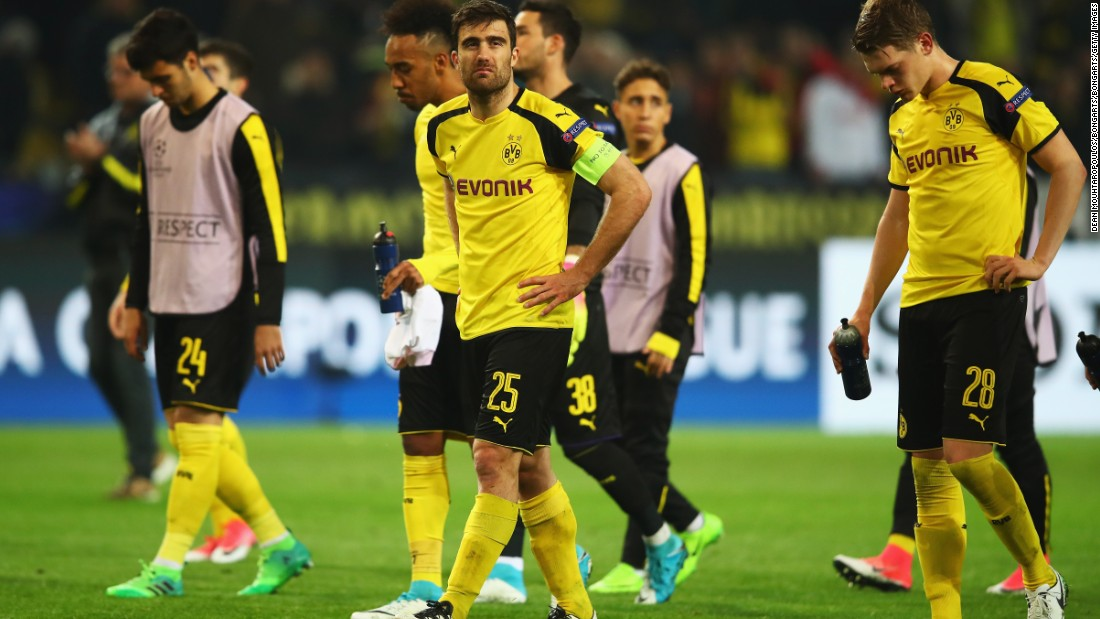 Sokratis cut a dejected figure at fulltime after Dortmund suffered a first home defeat in 21 games.