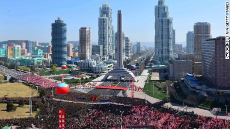 The newly constructed residential area on Ryomyong Street is unveiled in Pyongyang, North Korea, on Thursday.
