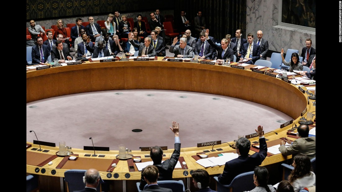 "Members of the United Nations Security Council vote on a draft resolution Wednesday, April 12, that would have condemned Syria's <a href=""http://www.cnn.com/2017/04/04/middleeast/idlib-syria-attack/"" target=""_blank"">reported use of chemical weapons.</a> Russia vetoed the resolution -- <a href=""http://www.cnn.com/2017/04/12/politics/assad-syria-sarin-gas/index.html"" target=""_blank"">its eight veto on Syria</a> during the course of the civil war. Russia said the United States, the United Kingdom and France rushed to judgment about what happened."