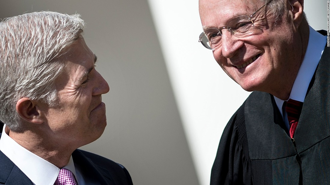 "Neil Gorsuch, the newest member of the US Supreme Court, smiles at Justice Anthony Kennedy, right, after <a href=""http://www.cnn.com/2017/04/10/politics/neil-gorsuch-trump/"" target=""_blank"">taking the judicial oath at the White House</a> on Monday, April 10. <a href=""http://www.cnn.com/2017/03/19/us/gallery/neil-gorsuch/index.html"" target=""_blank"">Gorsuch</a> replaces Antonin Scalia, who died in 2016."