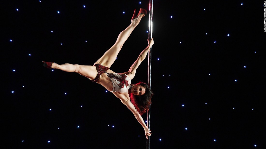 "Tina Casper competes in the ""exotic"" performance category during the Pacific Pole Championships on Sunday, April 9. The pole-dancing competition was held in Los Angeles."