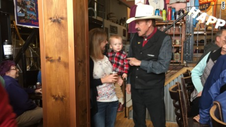 Rob Quist, the Democratic candidate running for Congress in Montana meets with voters at a brewery in Phillipsburg.