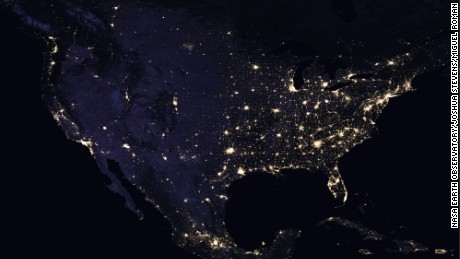 Composite image of the continental US at night in 2016.