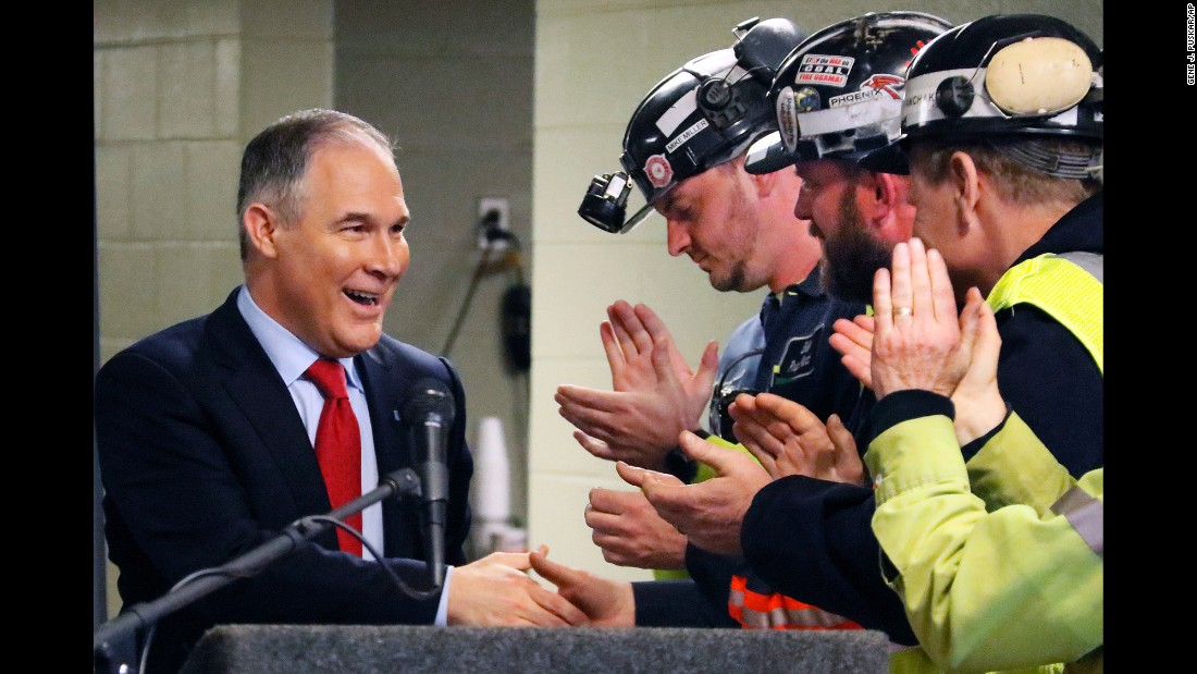 Scott Pruitt, the administrator of the Environmental Protection Agency, shakes hands with coal miners in Sycamore, Pennsylvania, on Thursday, April 13.