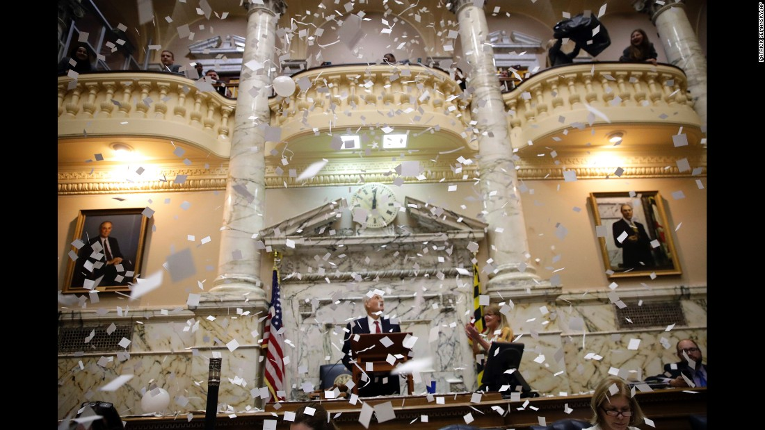 Confetti falls in the chamber of the Maryland House of Delegates after the state's legislative session closed on Tuesday, April 11.