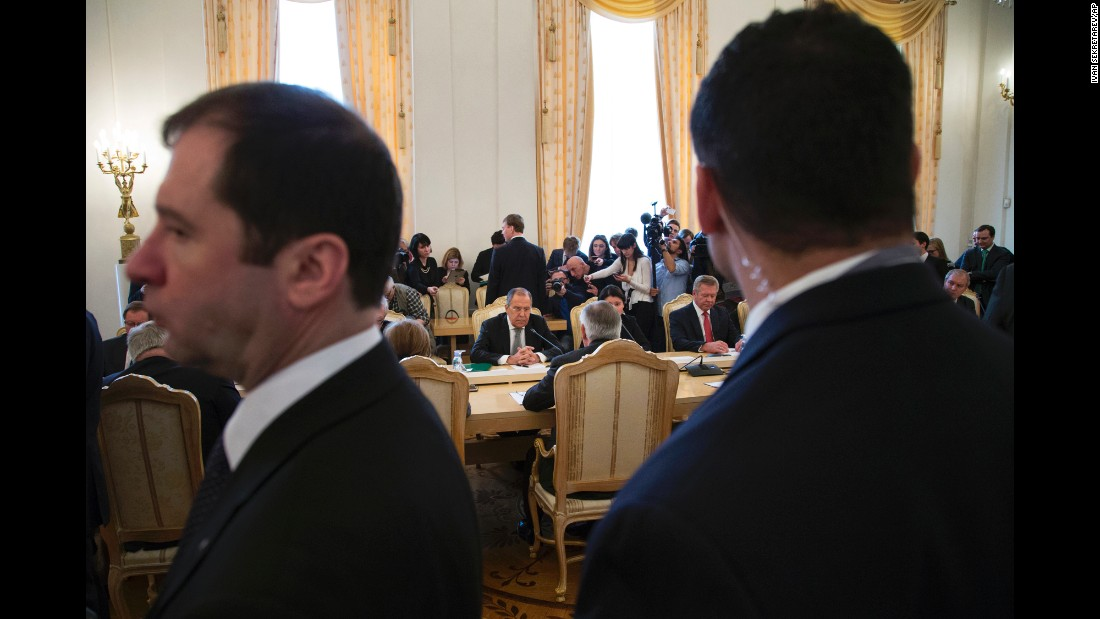 "US Secretary of State Rex Tillerson, seated at center with his back to the camera, speaks to Russian officials in Moscow on Wednesday, April 12. Facing him here is Russian Foreign Minister Sergey Lavrov. Tillerson also met with Russian President Vladimir Putin during his visit. At a news conference, Tillerson said the meetings <a href=""http://www.cnn.com/2017/04/12/politics/russia-syria-tillerson/"" target=""_blank"">didn't do much</a> to bridge a deepening diplomatic divide over Syria. Relations are ""at a low point, there is a low level of trust between our two countries,"" Tillerson said."