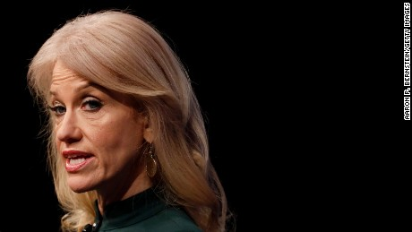 "WASHINGTON, DC - APRIL 12: Kellyanne Conway, Counselor to the President, speaks at the Newseum during their ""The President and The Press, The First Amendment in the First 100 Days"" event April 12, 2017 in Washington, DC. Conway, formerly President Trump's campaign manager, is one of the administration's main surrogates appearing often on television. (Photo by Aaron P. Bernstein/Getty Images)"