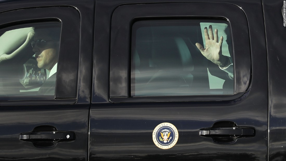 "President Trump waves to supporters as he is driven away from the airport in West Palm Beach, Florida, on Thursday, April 13. Trump's jaunt to his Mar-a-Lago estate, <a href=""http://www.cnn.com/2017/04/14/politics/donald-trump-north-korea-mar-a-lago/"" target=""_blank"">his seventh since taking office in January,</a> coincides with a closely watched anniversary in North Korea."
