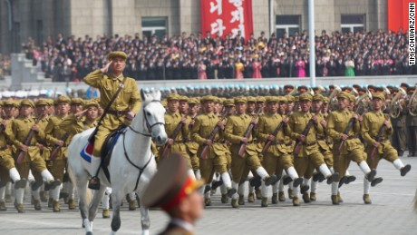 A military parade in Pyongyangf for birthday celebration of deceased leader Kim Il Sung.