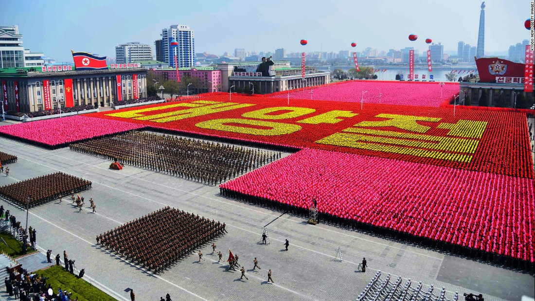 "Korean citizens spell out ""Day of the Sun"" in Kim Il Sung Square."