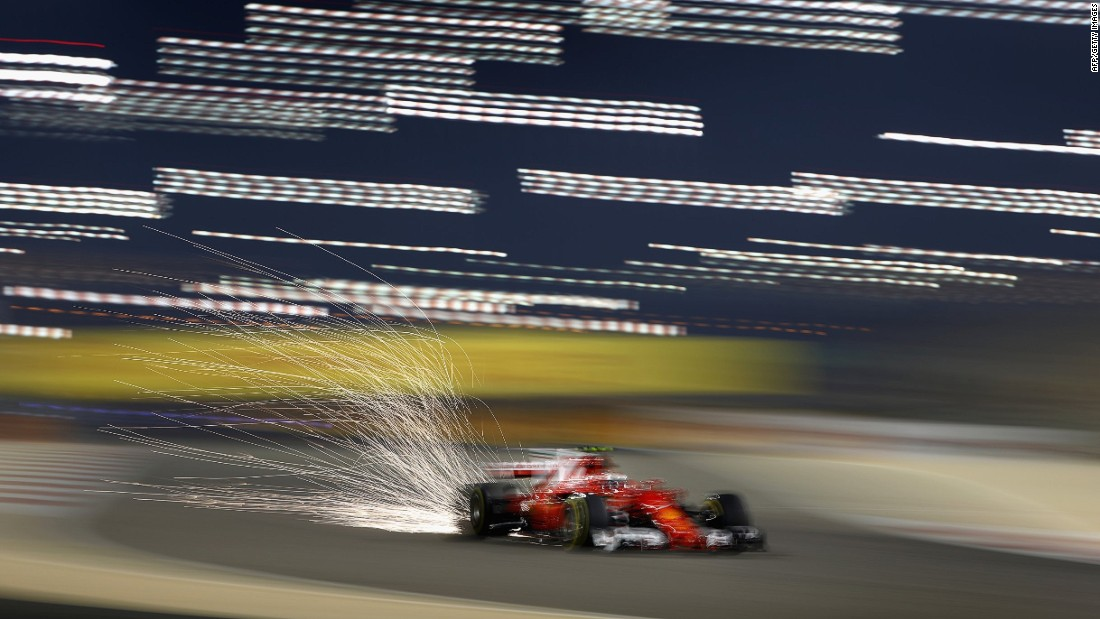 Sebastian Vettel on track in Bahrain. The German won the opening race of the 2017 season in Australia at the end of March.