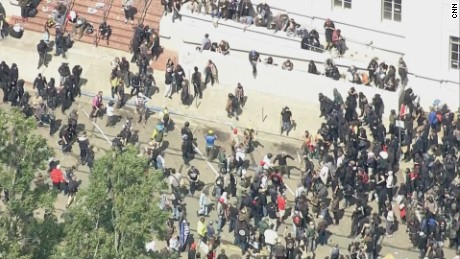 Protesters clash in Berkeley, California, on Saturday.