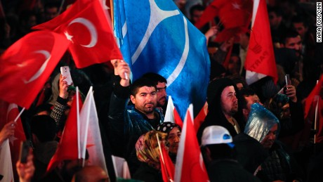 Erdogan's supporters celebrate the referendum win in Ankara.
