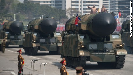 A series of solid-fuel missiles were on display at North Korea's most recent military parade.