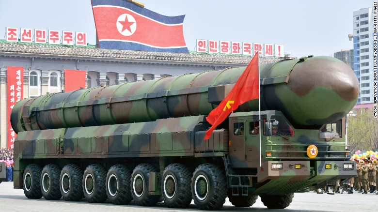 A vehicle equipped with a launch tube possibly for new intercontinental ballistic missiles is seen during a military parade at Kim Il Sung Square in Pyongyang on April 15, 2017, as North Korea marked the 105th anniversary of its founding leader's birth. (Kyodo) ==Kyodo (Photo by Kyodo News via Getty Images)