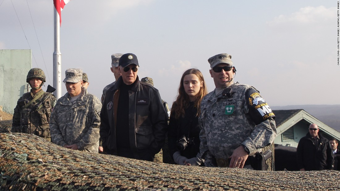US Vice President Joe Biden and his granddaughter Finnegan Biden visit the DMZ on December 7, 2013. In addition to South Korea, Biden also visited Japan and China to discuss the Trans-Pacific Partnership, the South China Sea, economic relationship with China and the implementation of the US-Korea Free Trade Agreement.