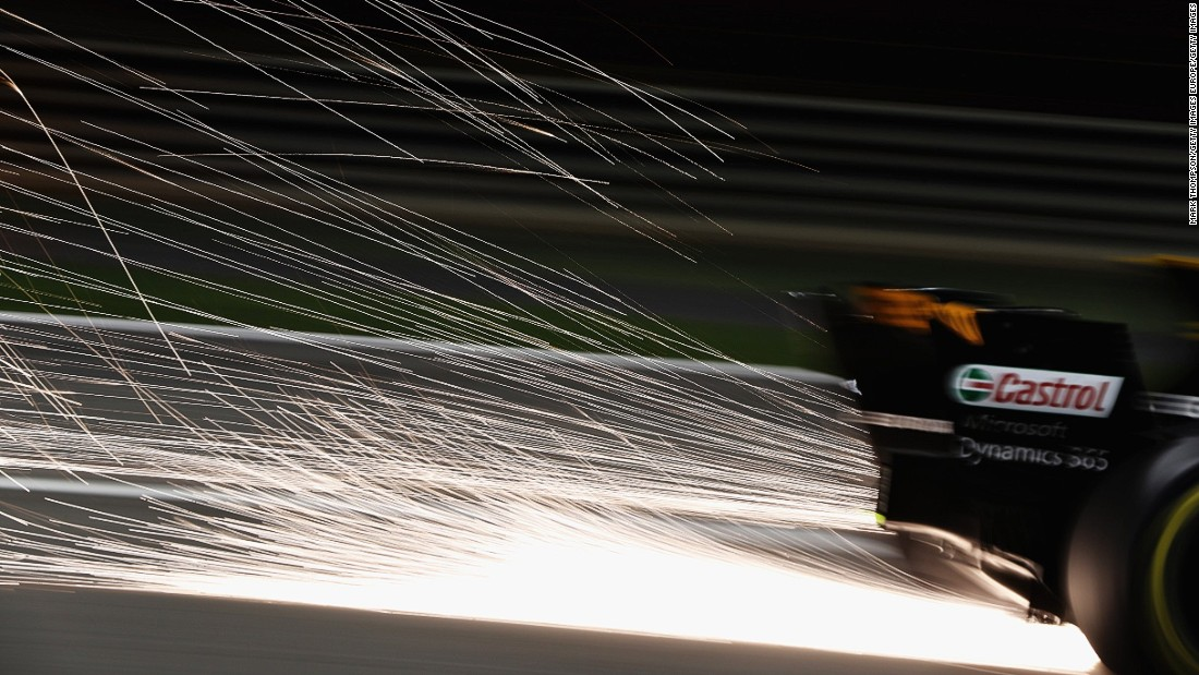 Sparks fly behind Jolyon Palmer's Renault car. The Briton started 10th on the grid for Sunday's race but finished out of the points.