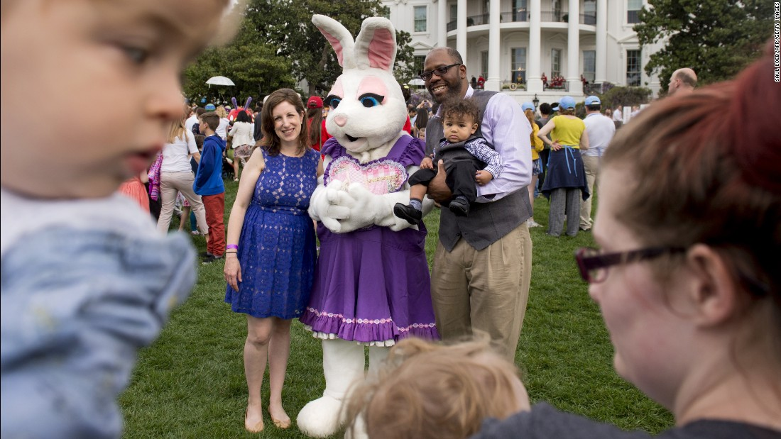 Guests have their photo taken with the Easter Bunny on the South Lawn.