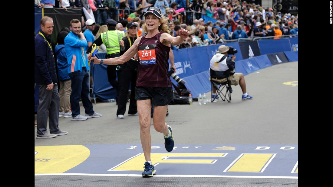 "Kathrine Switzer crosses the finish line of the marathon in Boston on Monday, April 17, wearing the same bib number an official tried to rip off her clothing when she ran the race <a href=""http://www.cnn.com/2017/04/17/us/boston-marathon-kathrine-switzer-trnd/"" target=""_blank"">50 years ago</a>. Switzer was the first woman to officially enter the Boston Marathon, in 1967, when she was a 20-year-old student at Syracuse University."
