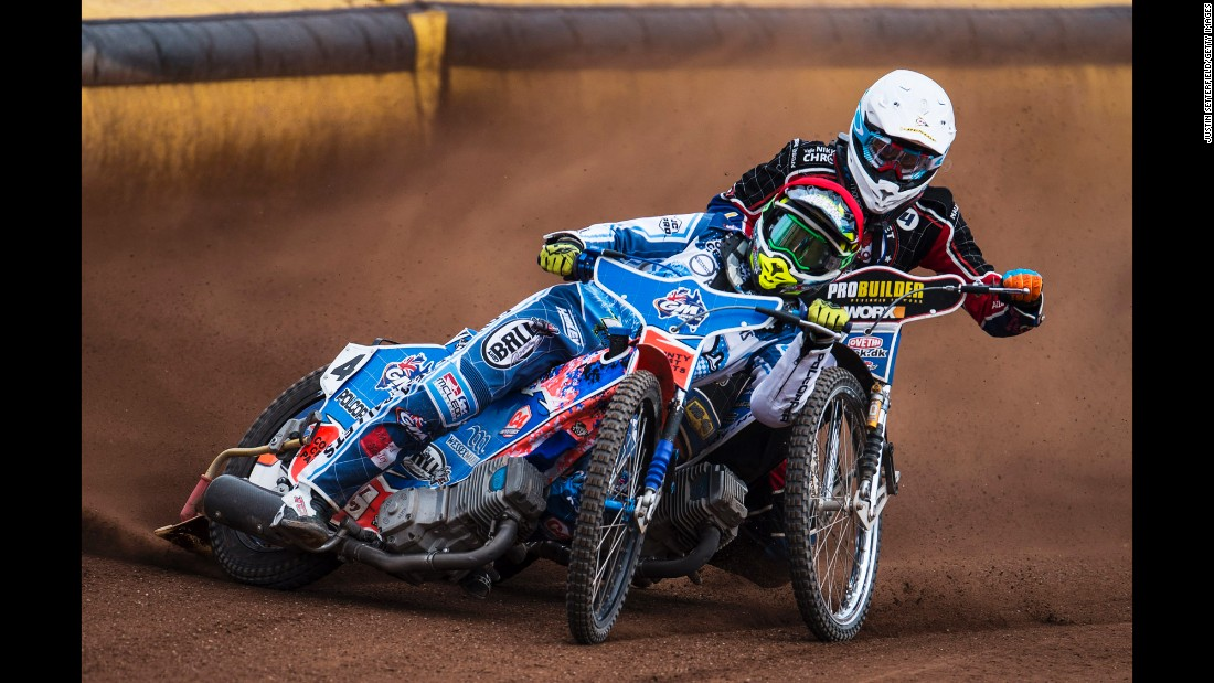 The Poole Pirates and Somerset Rebels compete at a motorcycle speedway in Poole, England, on Friday, April 14.