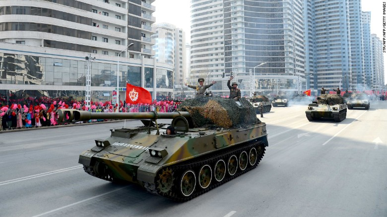 North Korea holds military parade on eve of Olympics