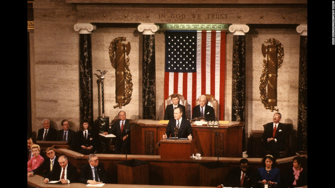 President George H.W. Bush delivers his first State of the Union address to a joint session of Congress on January 31, 1990.