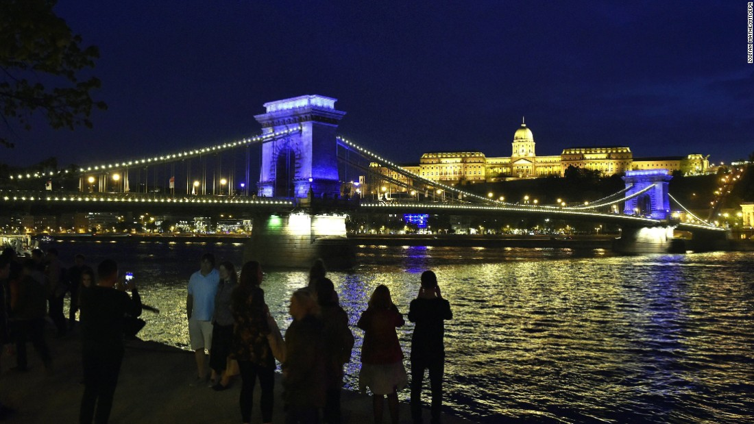 <strong>Budapest, Hungary:</strong> The blue lights on Budapest's Chain Bridge signal that the city has been chosen to host the FINA World Aquatics Championships 2017 this July.