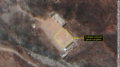 "38 North says this image shows a ""probable volleyball game seen at the command center support area"" at North Korea's nuclear test site."