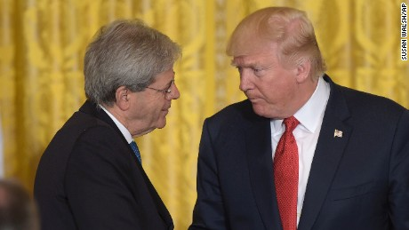 President Donald Trump, right, shakes hands with Italian Prime Minister Paolo Gentiloni following their news conference in the East Room of the White House in Washington, Thursday, April 20, 2017. (AP Photo/Susan Walsh)