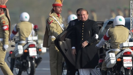 Pakistan Prime Minister Nawaz Sharif arrives at a military parade in Islamabad on March 23.