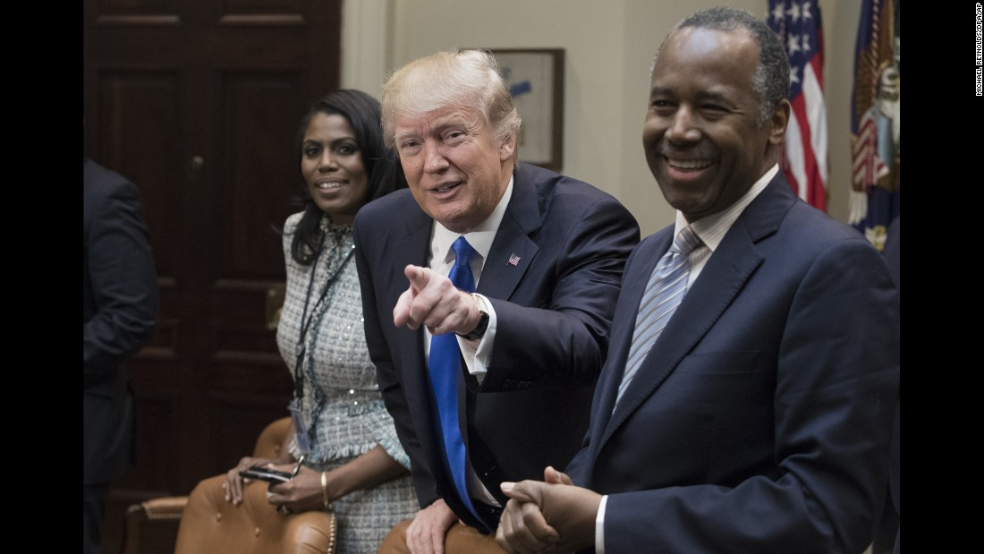 "Trump <a href=""http://www.cnn.com/2017/02/01/politics/african-american-meeting-donald-trump-frederick-douglass/"" target=""_blank"">met with several African-American leaders</a> for a listening session to kick off Black History Month on Wednesday, February 1. Trump was seated between Ben Carson, his nominee to head the Department of Housing and Urban Development, and Omarosa Manigault, a former ""Apprentice"" contestant who is now part of the administration."