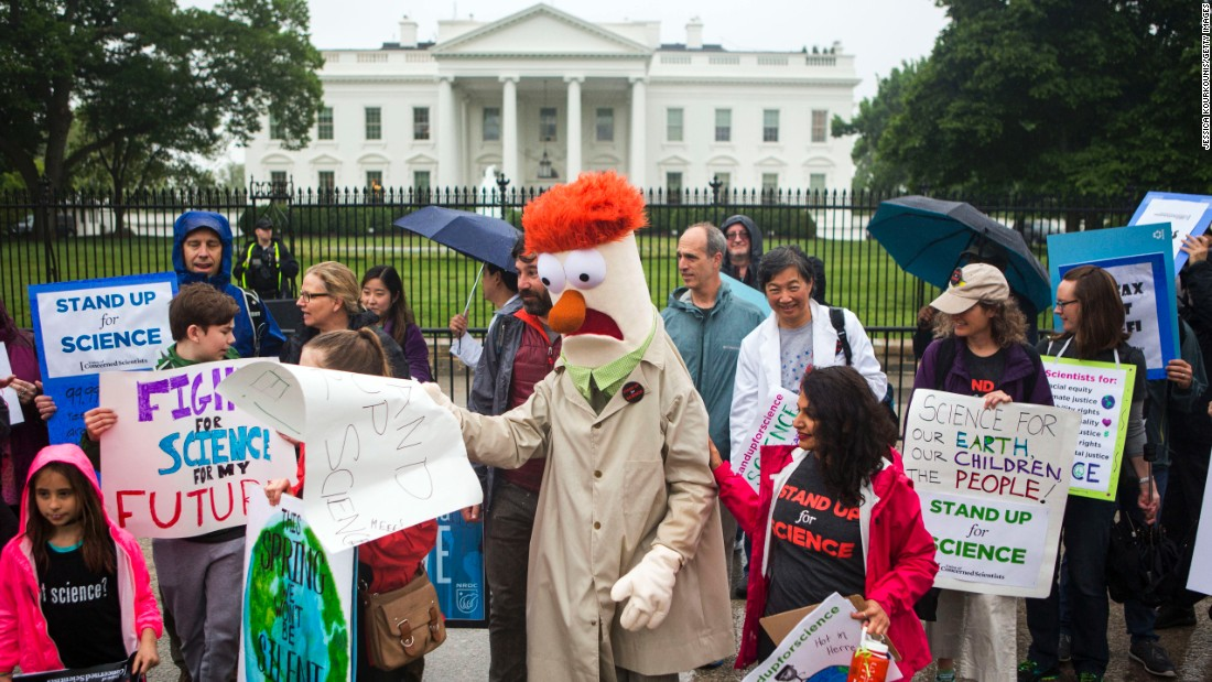 Members of the Union for Concerned Scientists with Muppet character Beaker protest in front of The White House in Washington D.C., before heading to the National Mall for the March for Science.