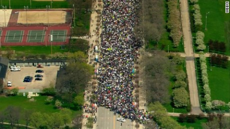 Demonstrators push forward Saturday in Chicago's March for Science.