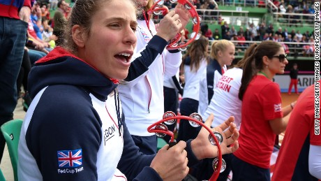 British player Johanna Konta cheers on her team in the Fed Cup and Romania.