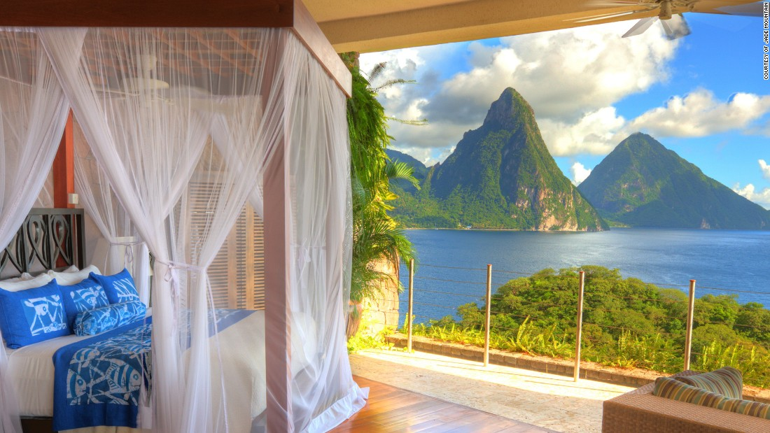 <strong>Jade Mountain Resort, Saint Lucia: </strong>The fourth wall is absent at each of this Caribbean resort's 24 infinity pool sanctuaries or five sky Jacuzzi suites. In keeping with the peaceful atmosphere, there are no televisions or Wi-Fi in the guest rooms. <br />
